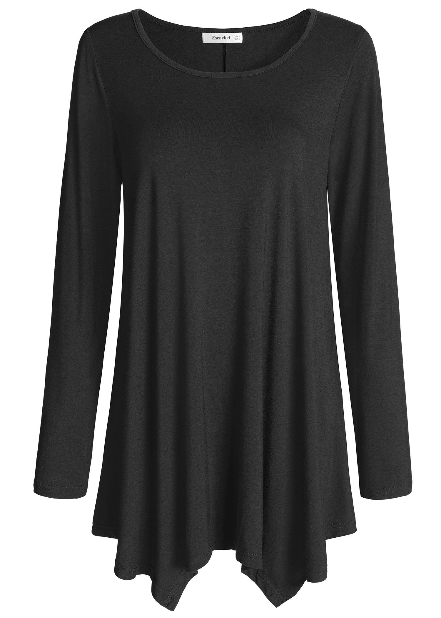 Esenchel Women's Long Sleeve Tunic Top for Leggings Flared Shirt XL Black