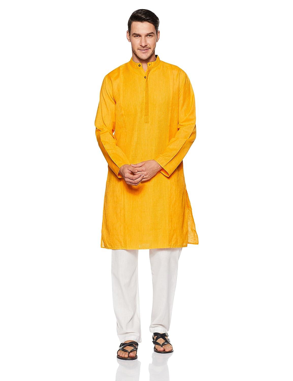 SHATRANJ By FBB Men's Achkan Kurta (1000867296_Yellow_M)