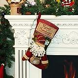 Chaussettes de Noël Bonbons Cadeau sac Cheminée Décoration Santa, Bonhomme de Neige, Renne Noël Ornements Suspendus Décoration Intérieure, Chaussettes de Noël Personnalisées - Père Noël