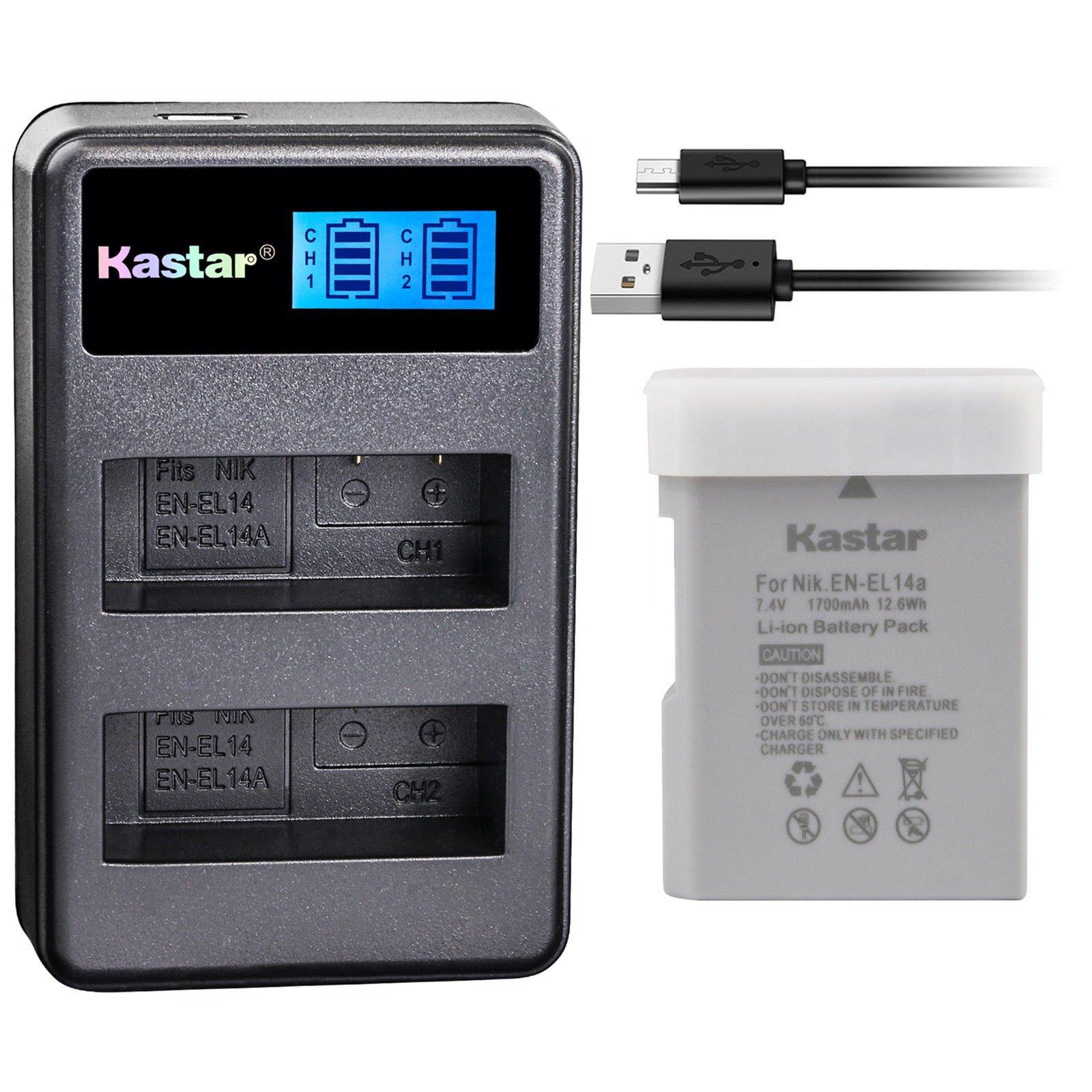 Kastar Battery 1 Pack and LCD Dual Charger for Nikon EN-EL14a EN-EL14 MH-24, Nikon Coolpix P7000 Coolpix P7100 Coolpix P7700 Coolpix P7800 Nikon D3100 D3200 D3300 D3400 D5100 D5300 D5500 D5600 Df DSLR
