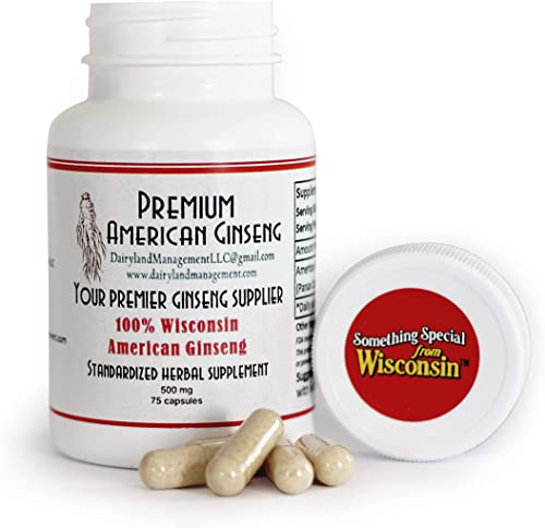 100 Authentic American Ginseng Capsules -500 mg. Potent Ground Ginseng Root – No Fillers, Binders or Other Additives. 75