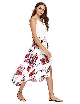 1706152617 SheIn Women's V Neck Bow Knot Lace Patchwork Floral Split Maxi Dress -  White - Small