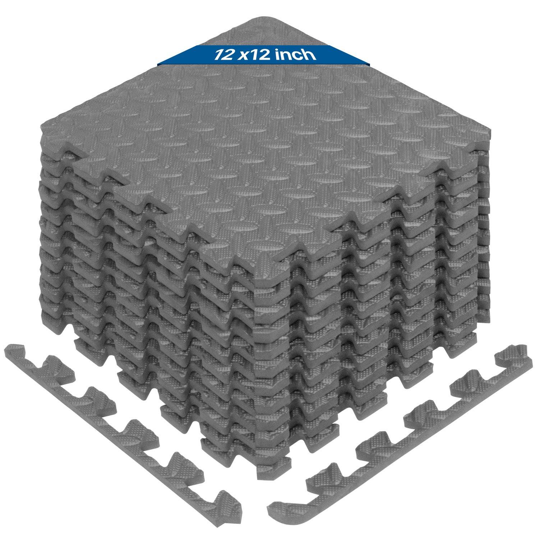 Yes4All Interlocking Exercise Foam Mats with Border - Interlocking Floor Mats for Gym Equipment - Eva Interlocking Floor Tiles (Gray)