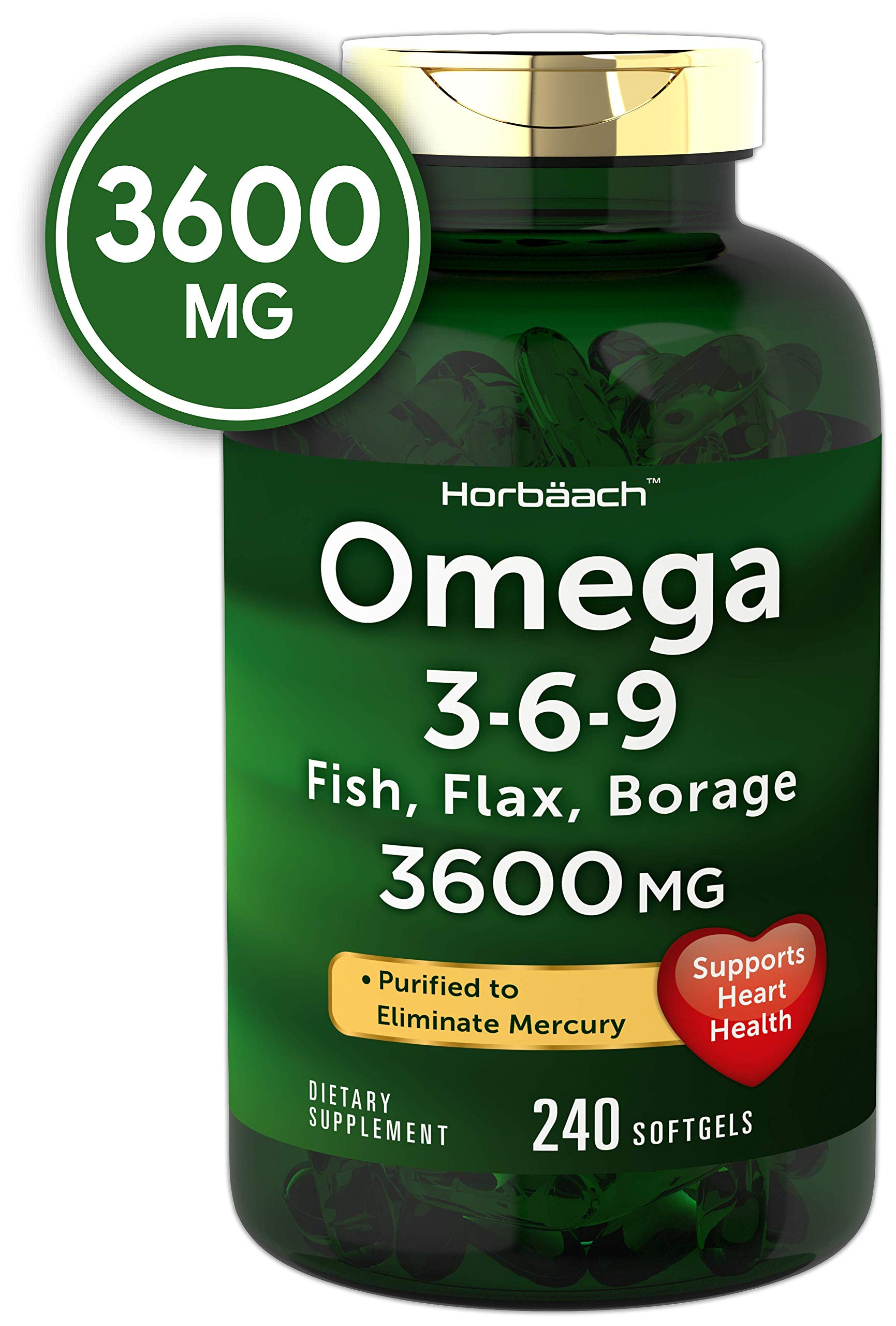 Triple Omega 3-6-9 3600 mg 240 Softgels   from Fish, Flaxseed, Borage Oils   Non-GMO & Gluten Free   by Horbaach