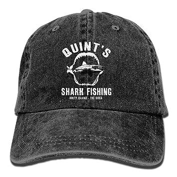deyhfef Quints Shark Fishing Washed Retro Ajustable Jeans Cap Gym ...
