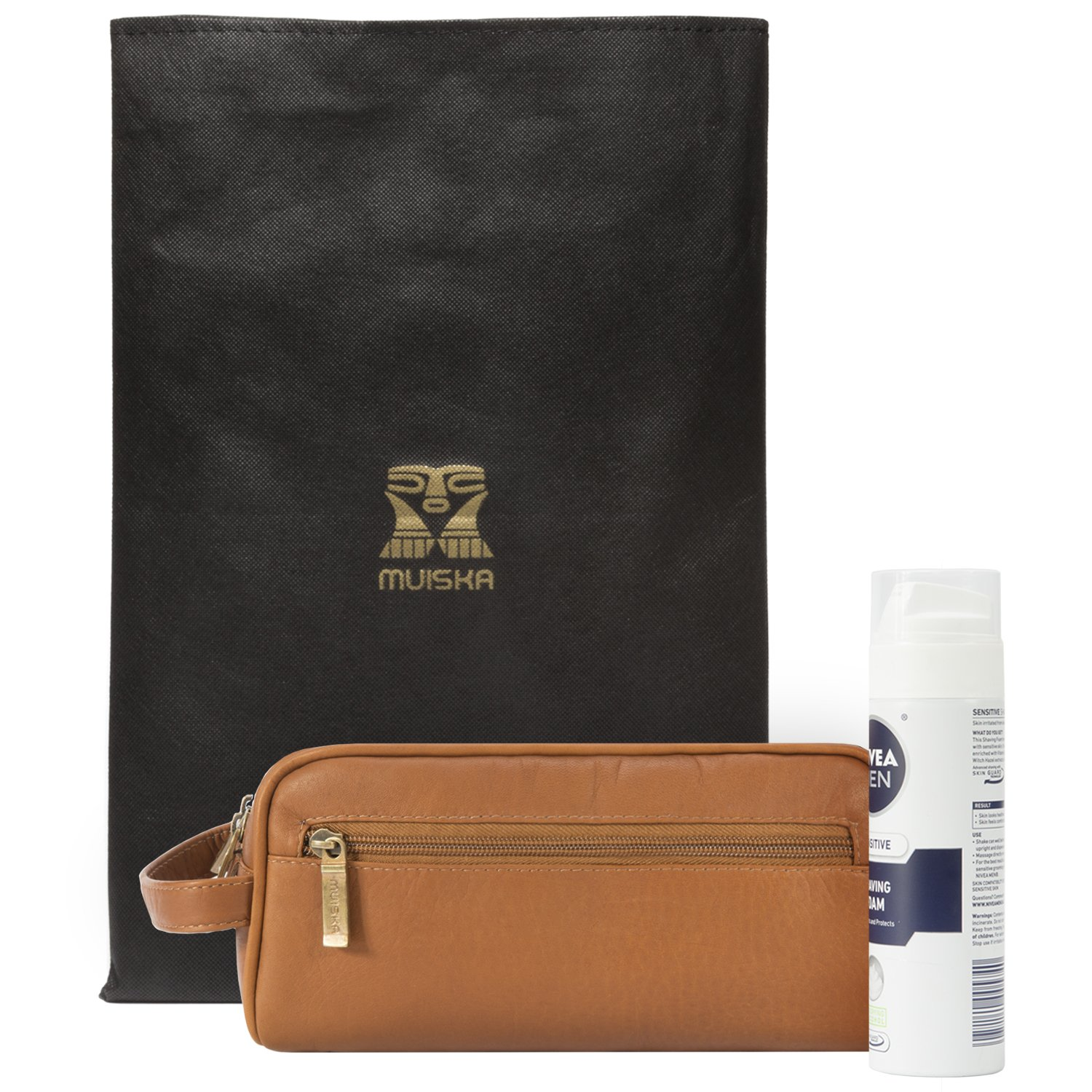 Mens Toiletry Bag -Tomas- by Muiska | Leather Double Zip Travel Dopp Kit Sleek Design and Exceptional Quality in Saddle