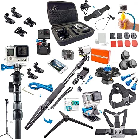 Nomadic Gear 55-in-1 Action Camera Accessories Kit for GoPro, Sony Action Camera, Garmin, Ricoh Action Cam, SJCAM, iPhone and Android | Epic Photo ...