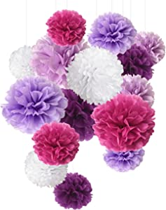 Purple Tissue Paper Pom Poms Paper Flowers Decorations for Party Decorations Wedding Decor Birthday Celebration and Outdoor Decoration- 15 Pcs of 8, 10, 14 Inch