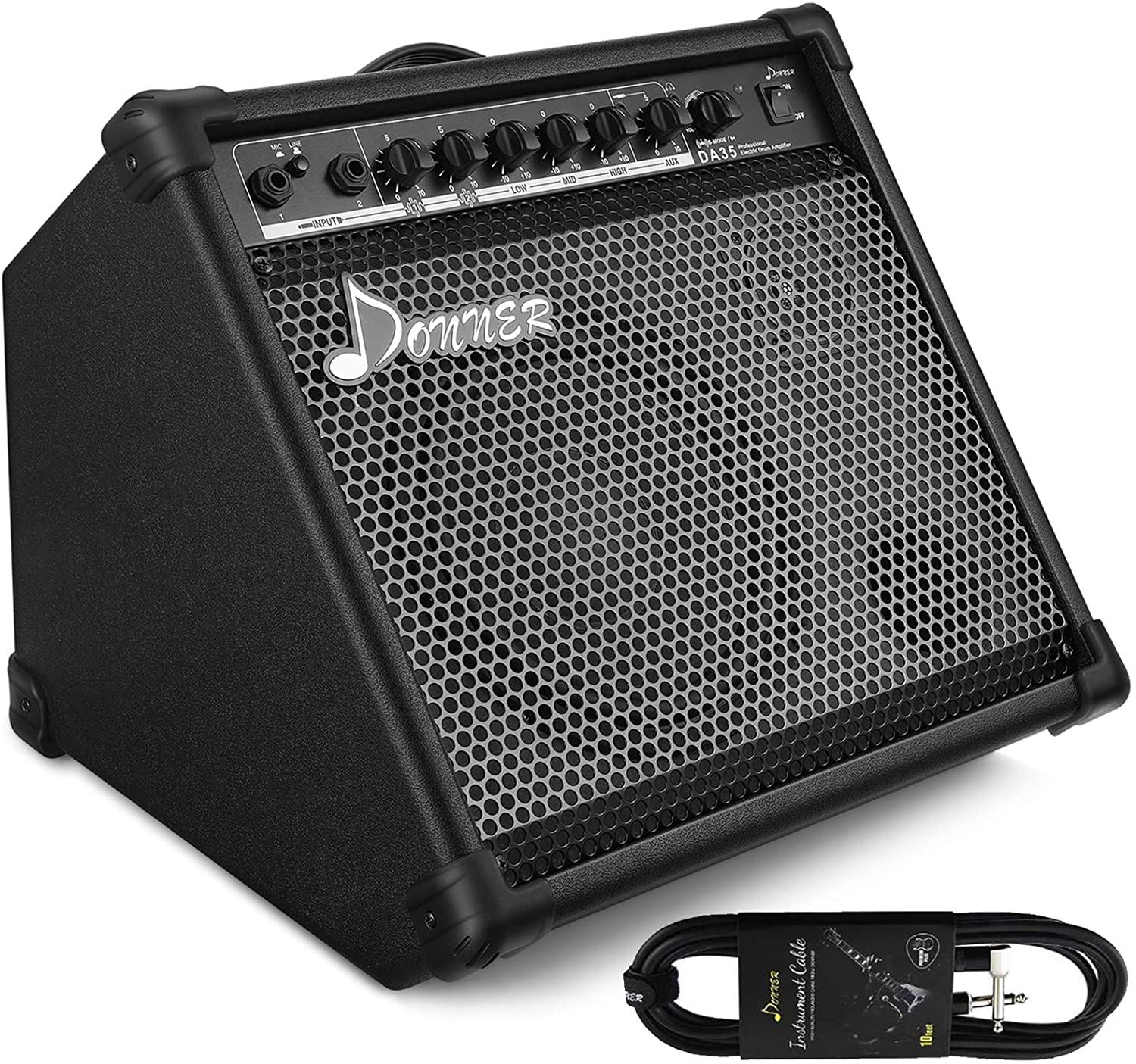 Donner DA-35 AMP 35-Watt Electronic Drum Amplifier Keyboard Amplifier with Aux in and Wireless audio connection, Drum/Keyboard/MIC 3 in 1 Amplifier with 3-Band EQ and DI OUT
