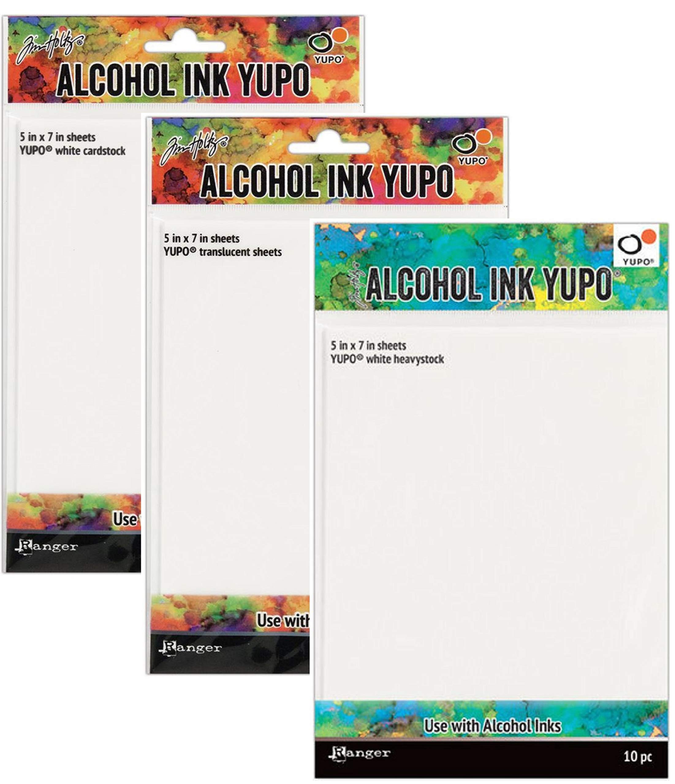 Tim Holtz Bundle of 3 Packages of Yupo Paper, White Heavystock, White Cardstock, Translucent Sheets, 10 (5''x7'') Sheets Each Package