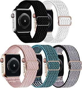 GBPOOT 5 Packs Nylon Stretch Band Compatible with Apple Watch Bands,Adjustable Soft Sport Breathable Loop for Iwatch Series 6/5/4/3/2/1/SE,Black/White/Rosepink/CelestialTeal/Royal Pulse,38/40mm