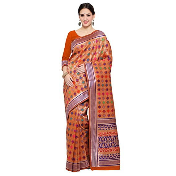 2e8e7a472d6ff9 Women s Tassar Silk Traditional Saree Unstitched Blouse Design (Earth Patola  Orange Orange)  Amazon.in  Clothing   Accessories