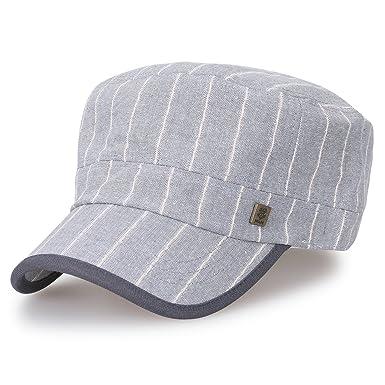 c31218dfec8 ililily Large Size Stripe Military Army Hat Cotton Vintage Cadet Cap ...