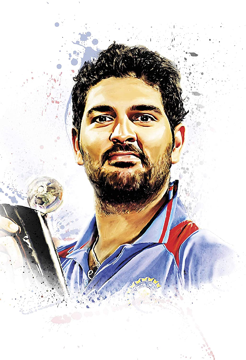 Good hope yuvraj singh poster for room and office matte paper 300 gsm 13 x 19 inch rolled multicolour