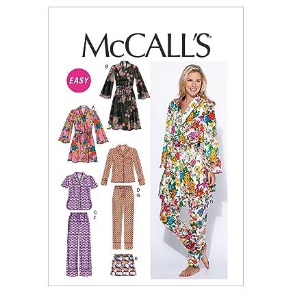McCalls M6659 - Patrones de costura para confeccionar pijamas de mujer (varios modelos, tallas