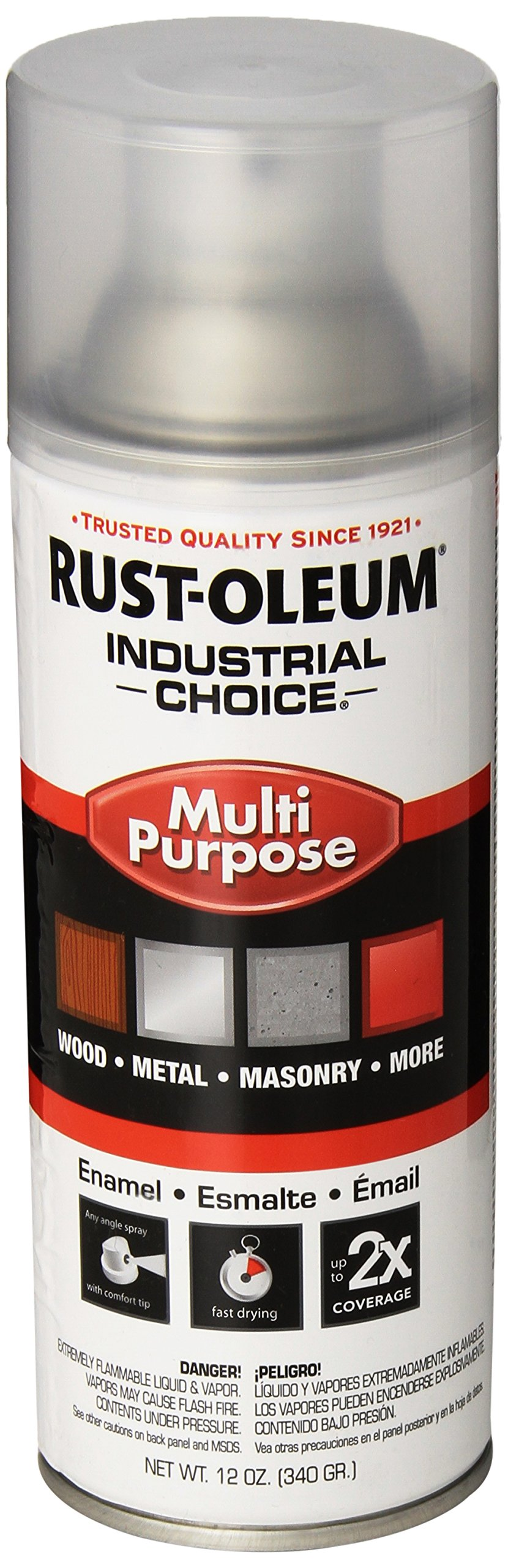 Rust-Oleum 1610830 Crystal Clear 1600 System General Purpose Enamel Spray Paint, 16 fl. oz. container, 12 oz. weight fill, Can (Pack of 6) by Rust-Oleum