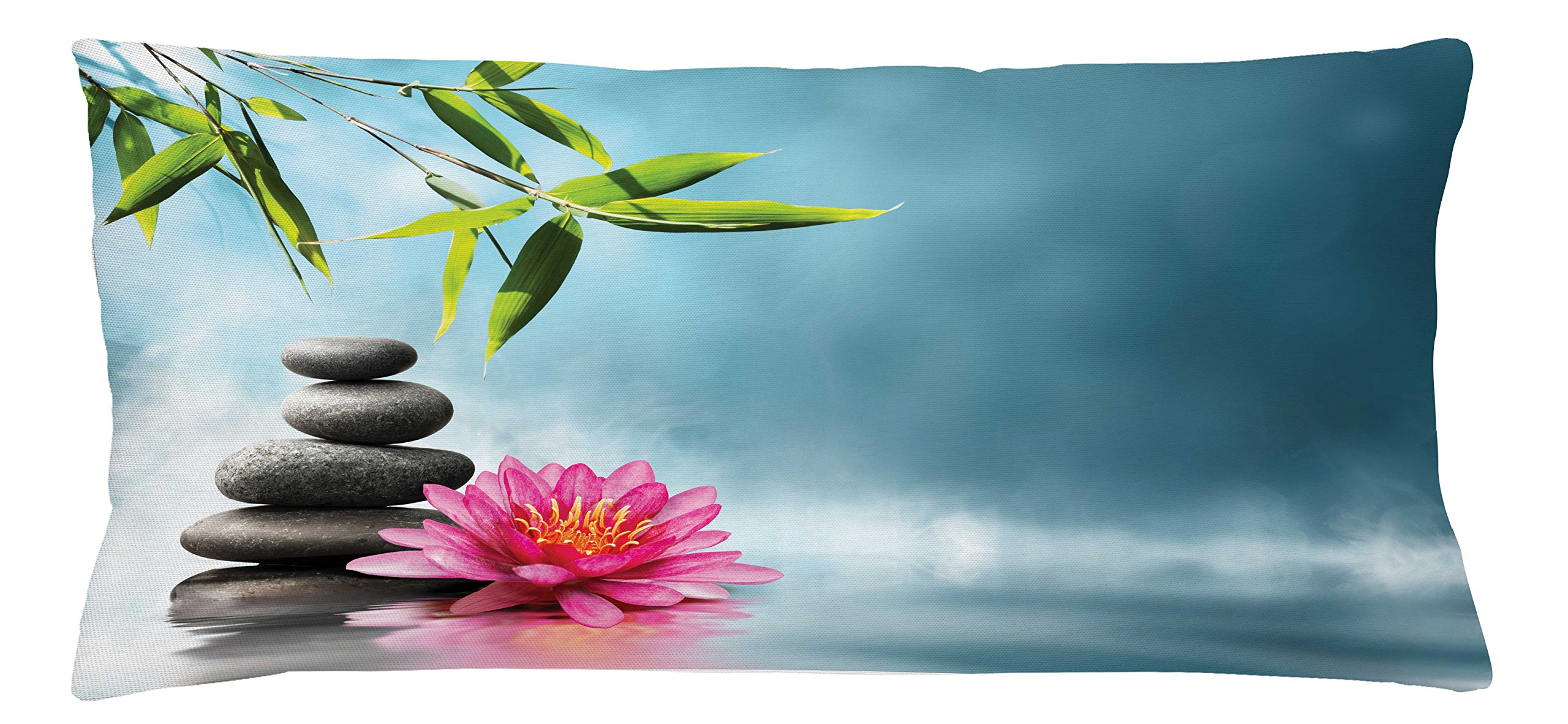 Ambesonne Spa Throw Pillow Cushion Cover, Spa Theme with Lily Lotus Flower and Rocks Yoga Style Purifying Your Soul Theme, Decorative Square Accent Pillow Case, 36 X 16 inches, Blue Pink Green