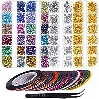 Anezus 7100 Pcs Nail Art Rhinestones Nail Gems Kit with 30 Assorted Colors Nail Art Striping Tape and Pickup Tools for Nail Art Supplies Accessories