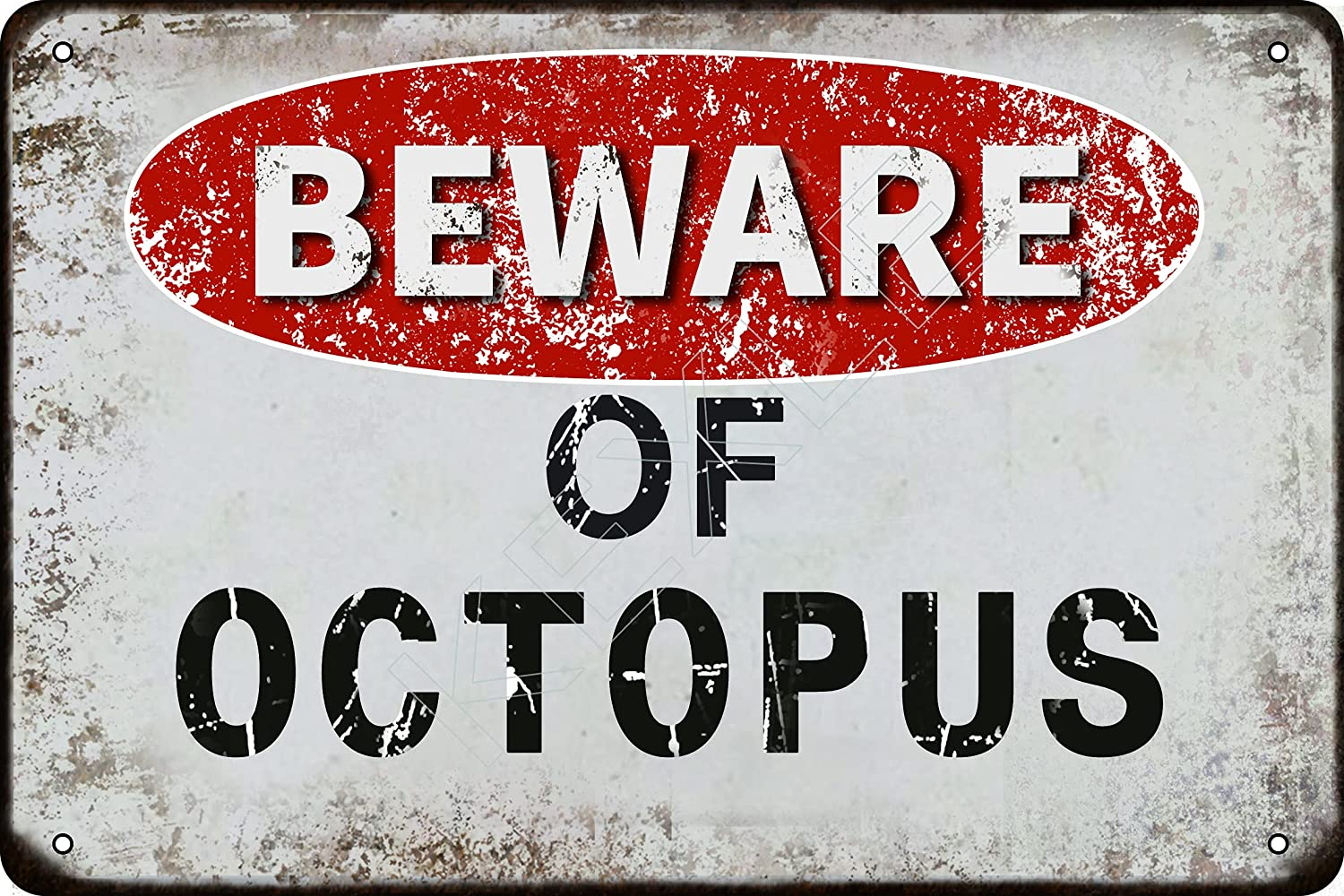 kexle Beware of Octopus Vintage Metal Tin Sign Retro Funny Tin Sign for Wall Decor—8