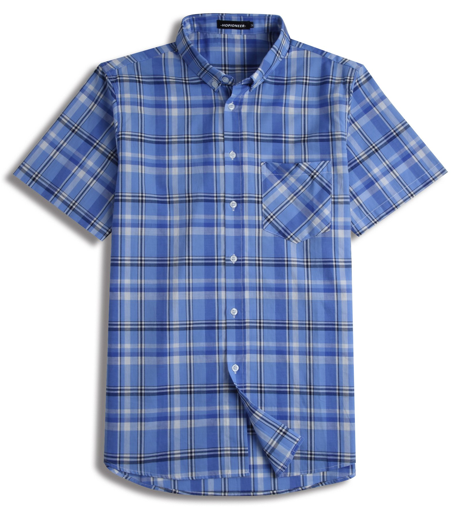 Hopioneer Men's Relaxed Fit Plaid Short Sleeve Button Down Shirt Cotton Button up Casual Summer Woven Shirt (X-Large, Blue)