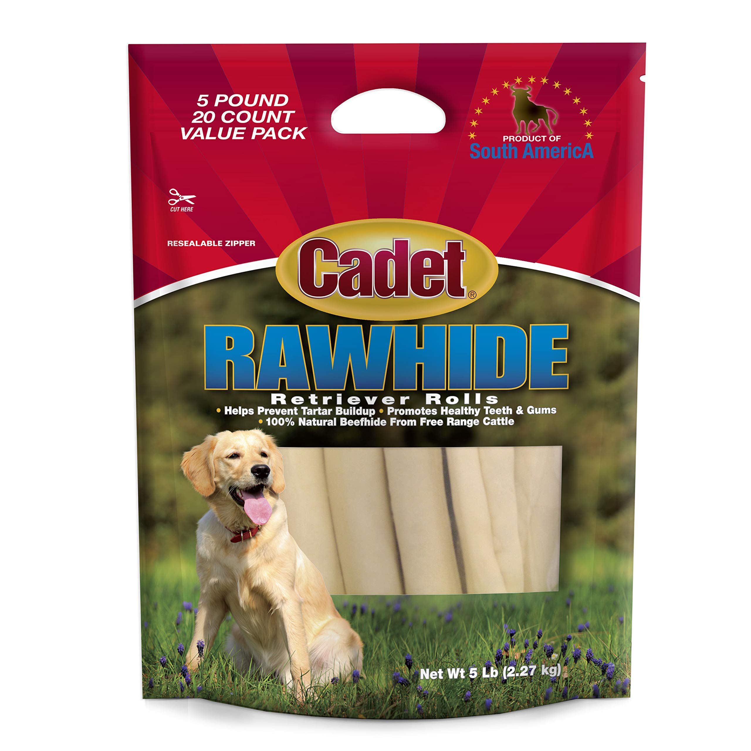 Cadet Rawhide Retriever Rolls, 100% Beef Rawhide Rolls for Dogs, 5 lb. by Cadet