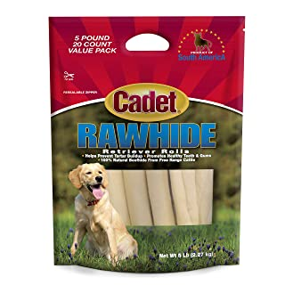 Cadet Rawhide Retriever Rolls, 100% Beef Rawhide Rolls for Dogs, 5 lb.