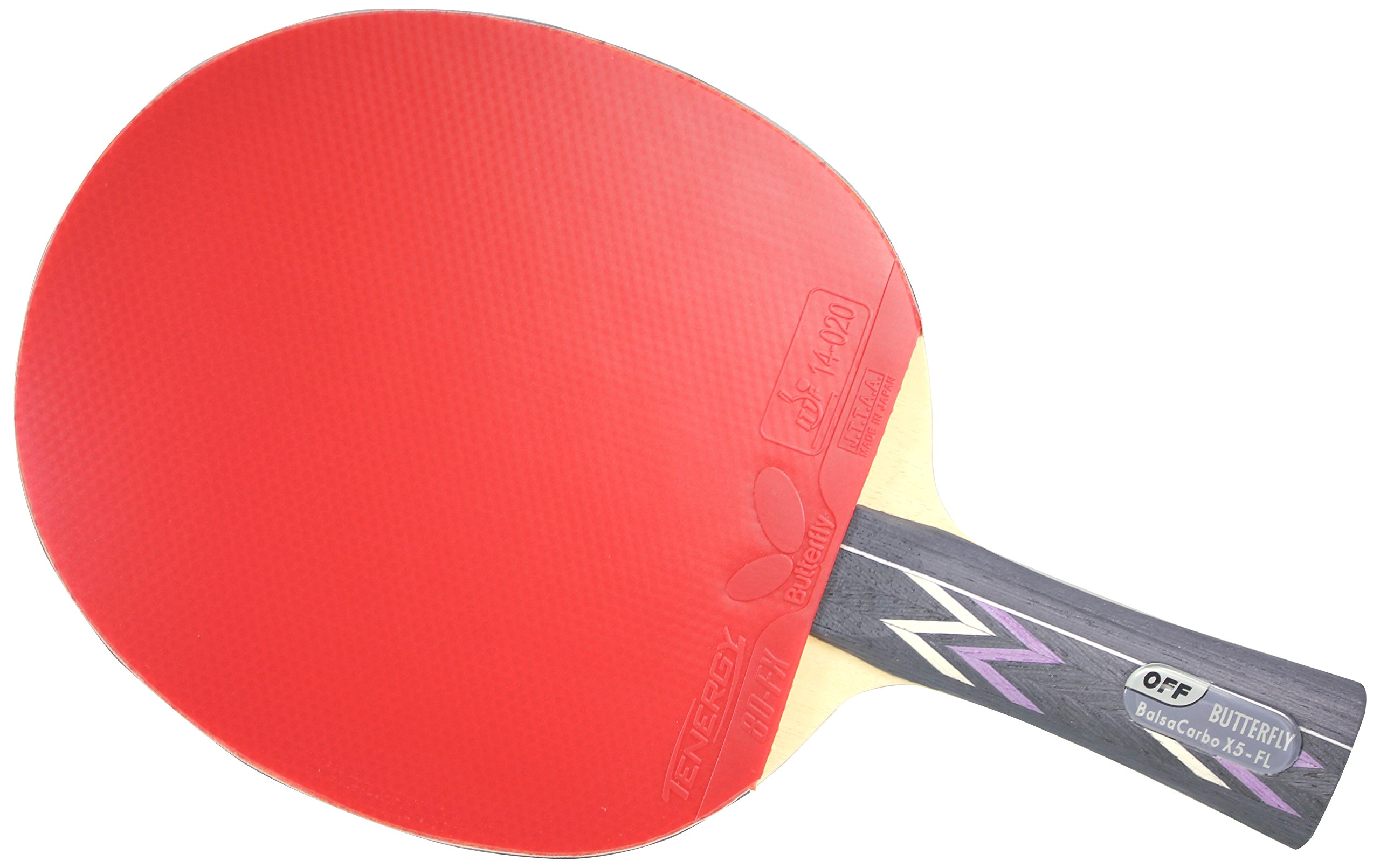 Butterfly Balsa Carbo X5 FL Blade with Tenergy 80 FX 2.1 Red/Black Rubbers Pro-Line Table Tennis Racket by Butterfly