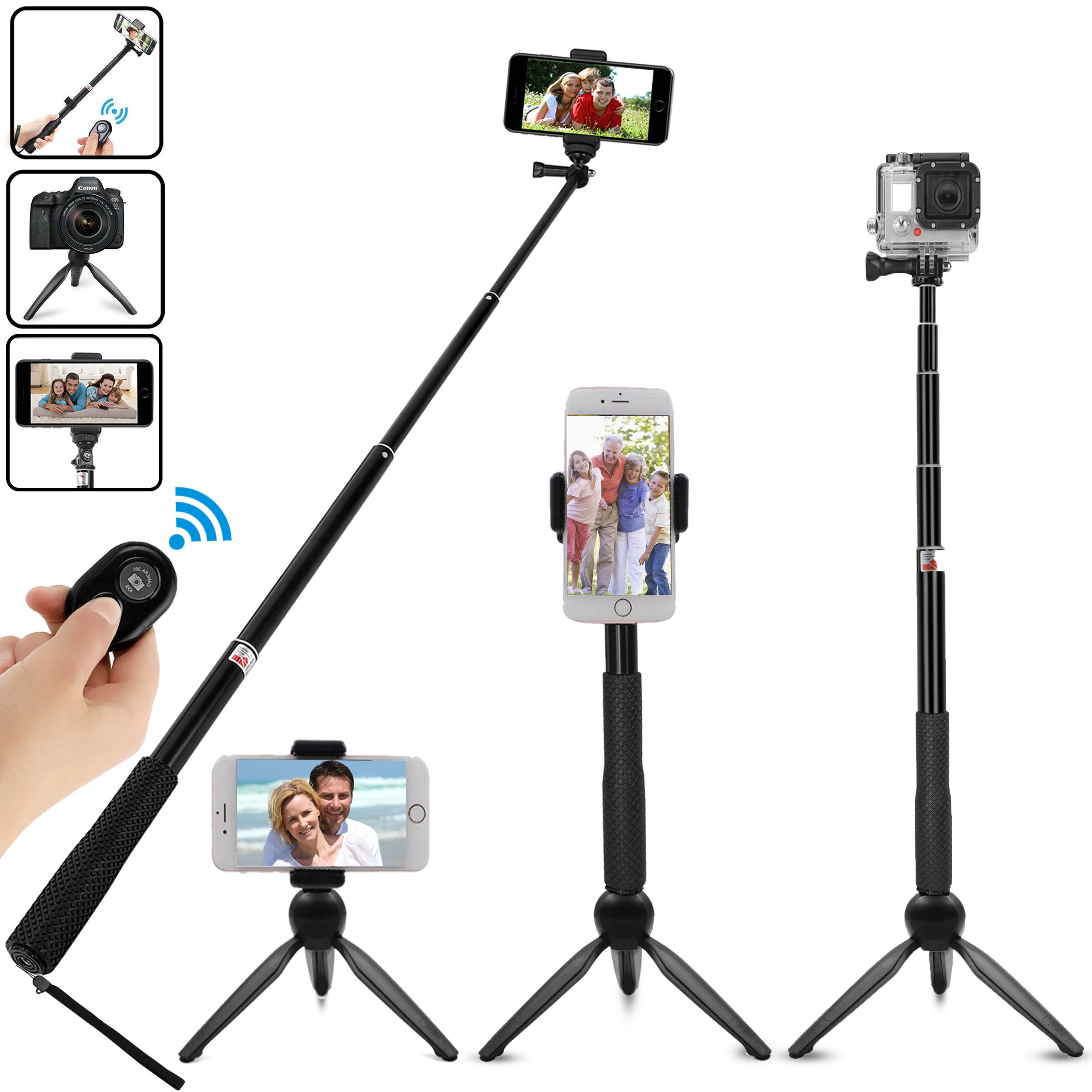 Suyisy Selfie Stick,Extendable Monopod with Integrated Tripod and Bluetooth Wireless Remote Shutter Portable for iPhone, Android phones, Digital Cameras and GoPro