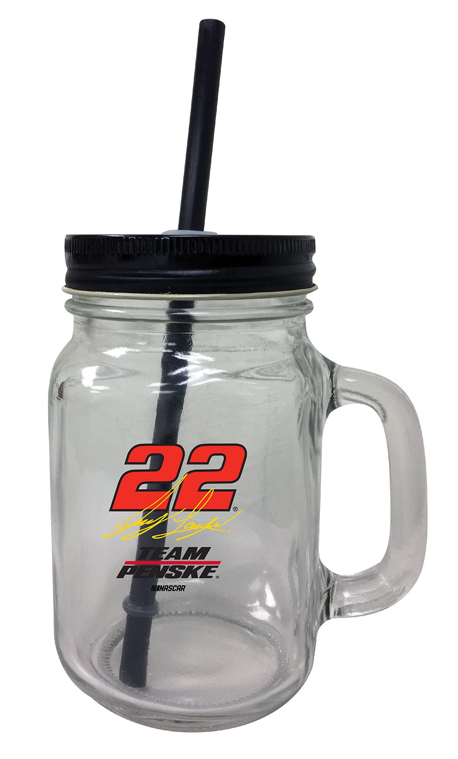 Joey Logano #22 Mason Jar Glass Tumbler