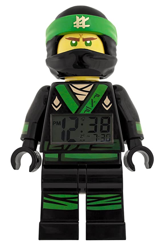 LEGO NINJAGO MOVIE 9009204 Lloyd Kids Minifigure Light Up Alarm Clock | green/black | plastic | 9.5 inches tall | LCD display | boy girl | official