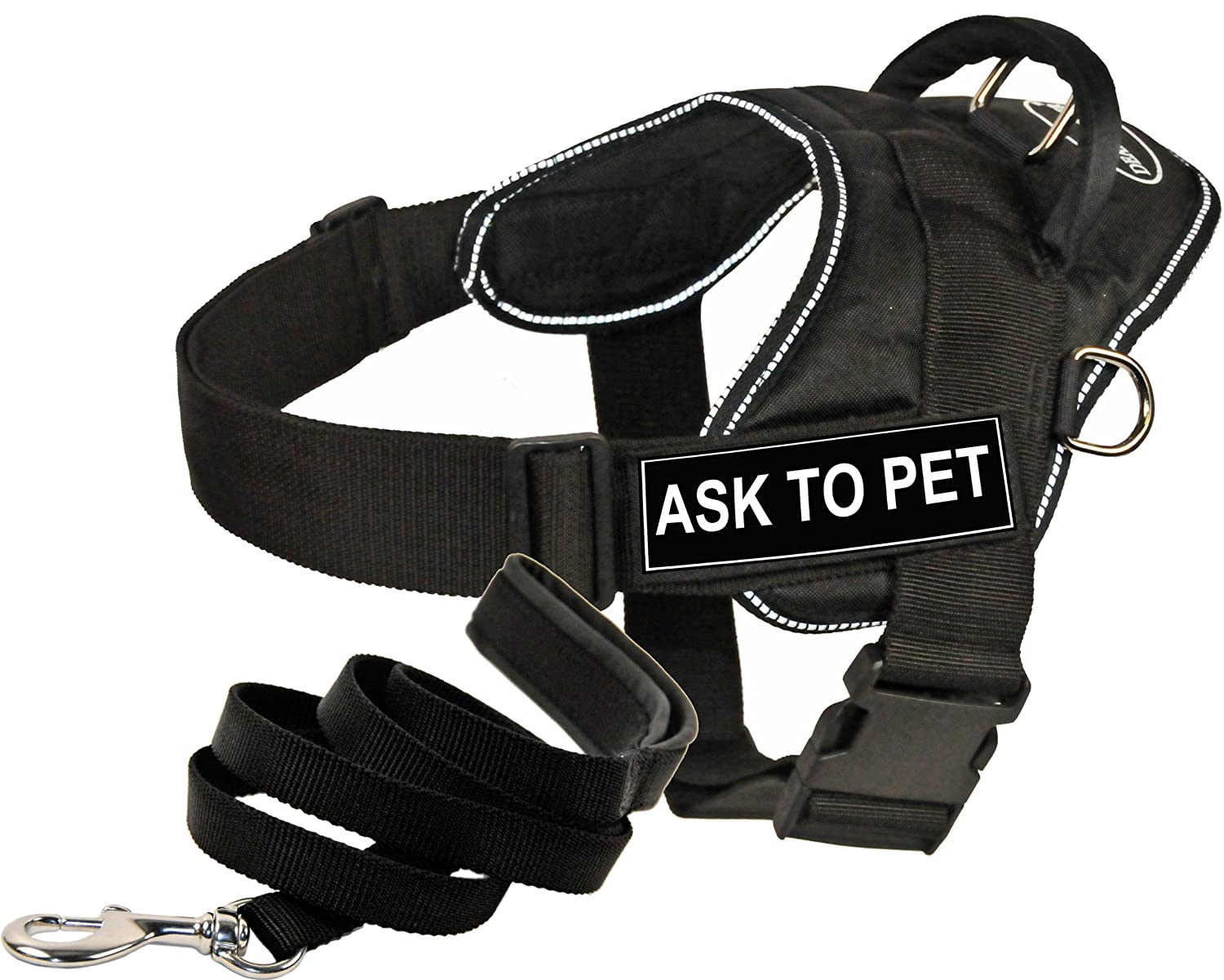 Dean And Tyler Bundle – One opere DT Fun Harness, Ask to Pet, Riflettente, XS (50,8 cm – 58,4 cm) + One Padded Puppy Leash, 1,8 m Stainless Snap – Nero