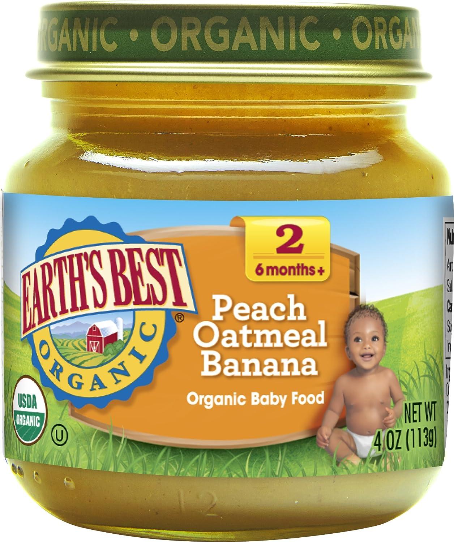 Earth's Best Organic Stage 2 Baby Food, Peach Oatmeal Banana, 4 oz. Jar