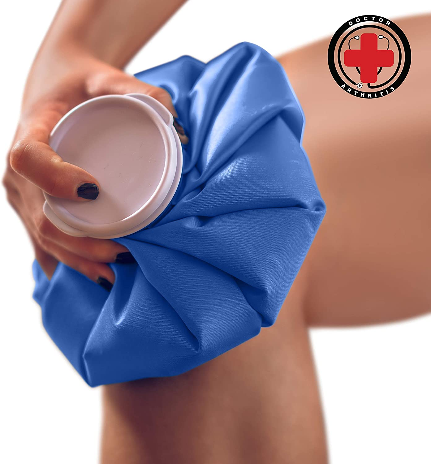"""Doctor Developed Hot and Cold Pack/Ice Bag/Ice Pack/Compress [Single] - Re-useable and Waterproof with Spill-Proof caps and Durable, Anti-Leak Materials (Medium - 9"""")"""