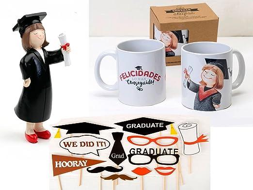 Momparler1870 Pack Graduación *Graduada* con figura, taza y photocall: Amazon.es: Hogar