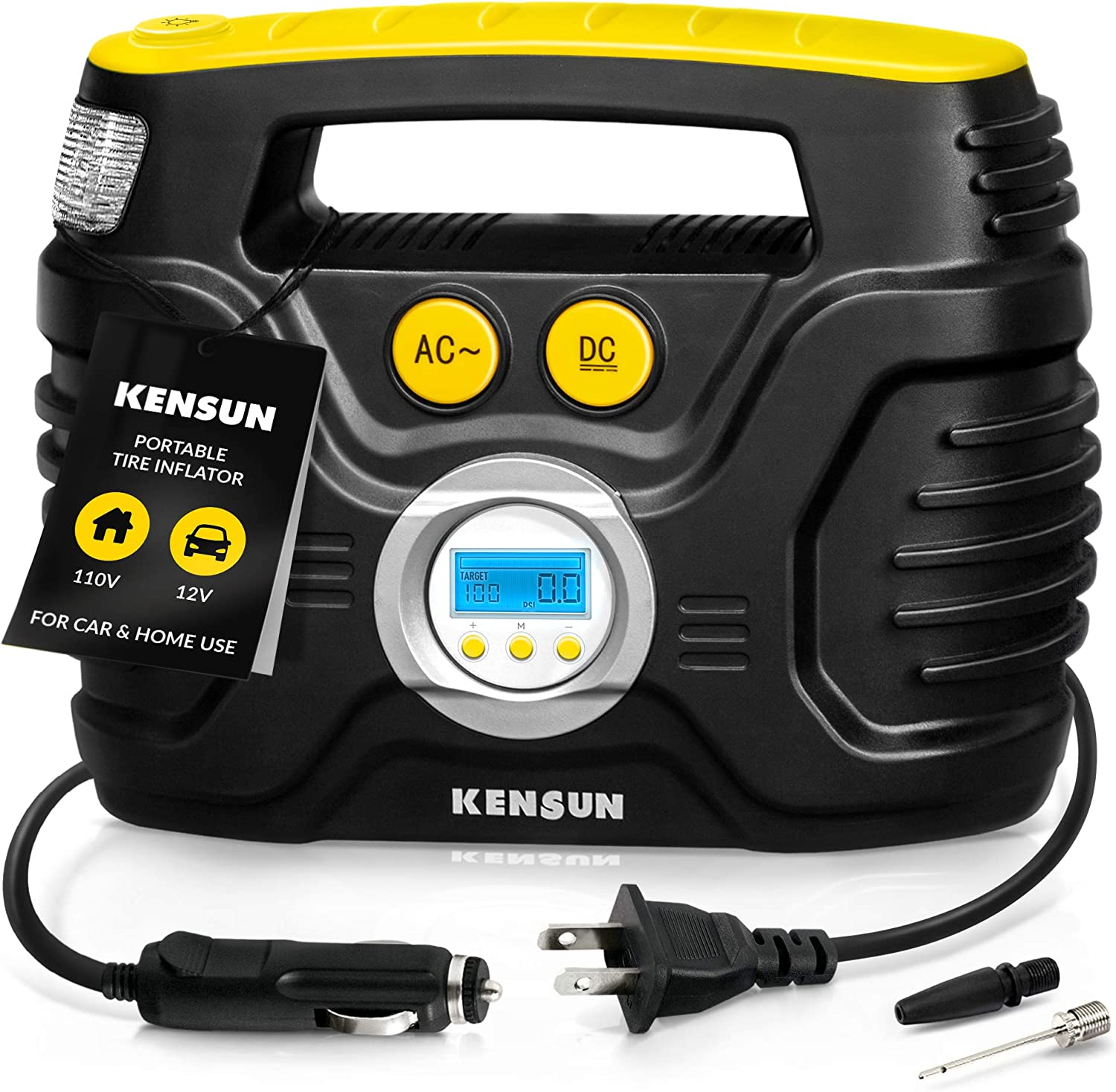 Kensun AC/DC Tire Inflator Pump for Car 12V DC and Home 110V AC Swift Performance 2.0 Portable Air Compressor Pump for Car and Home