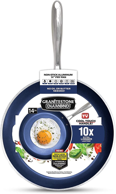 "Granite Stone Diamond Cookware Set Granite Stone, 14"" Family Pan, Blue: Kitchen & Dining"