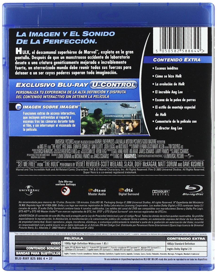 Amazon.com: The Hulk (Blu-Ray) (Import Movie) (European Format - Zone B2) (2008) Celia Weston; Eric Bana; Paul Kersey; Tod: Movies & TV