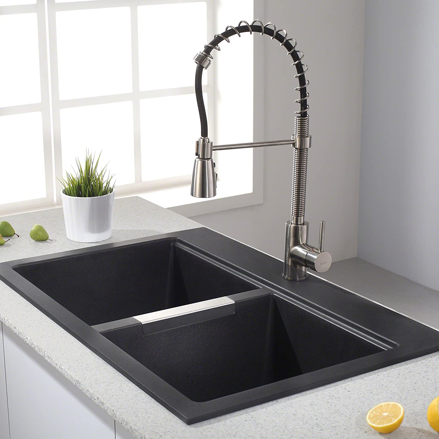 Kraus Quarza Dual Mount 50/50 Double Bowl Black Kitchen Sink Review ...