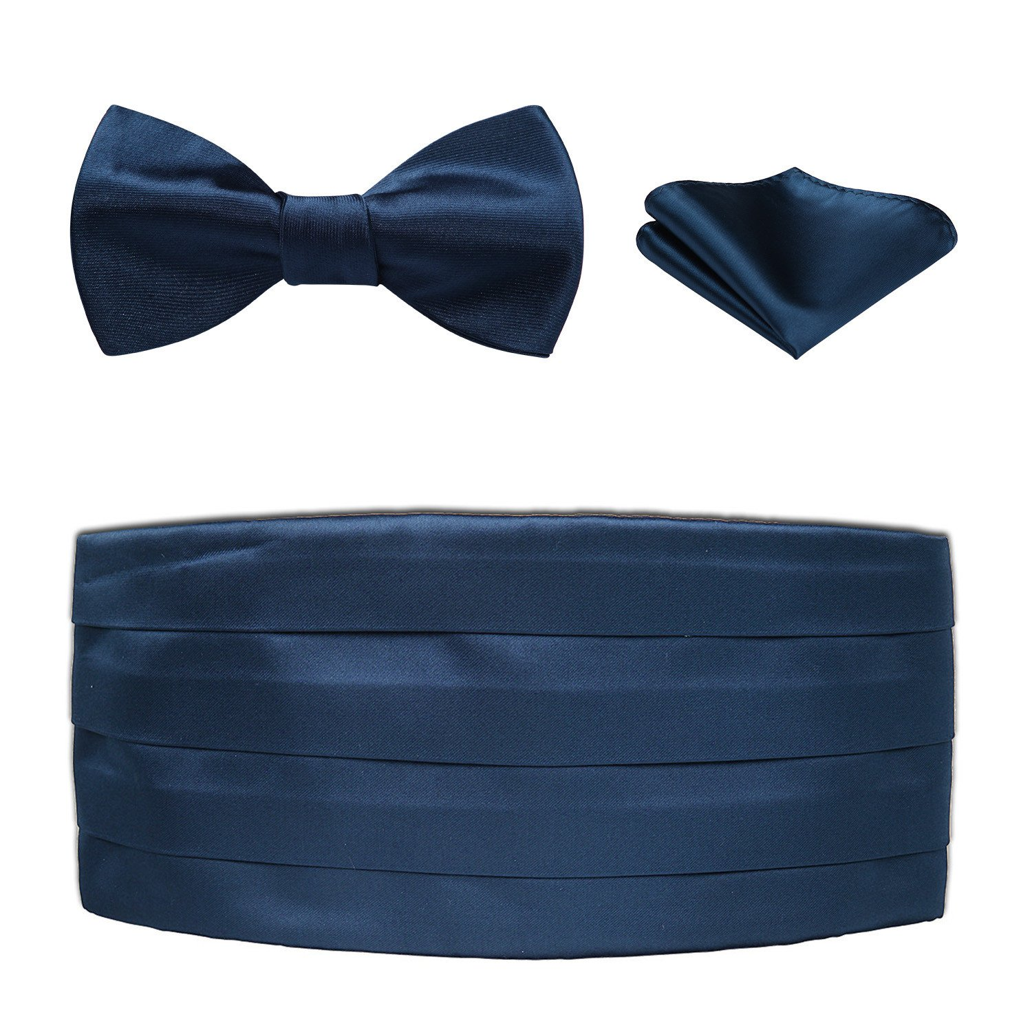 Men's Formal Cummerbund & Bowtie & Pocket Square Set-Various Colors and Patterns CF3021NS