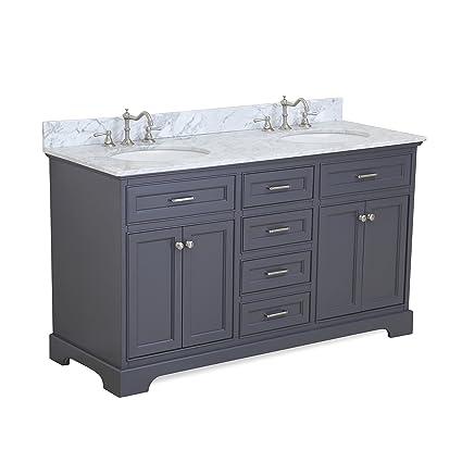 Aria 60 Inch Double Bathroom Vanity Carrara Charcoal Gray