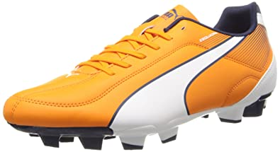 PUMA Men's Esquadra Firm Ground Soccer Shoe, Vibrant Orange/White/Peacoat,  12