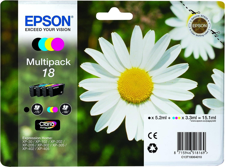 Epson Multipack 18 4 Farben Tintenpatrone Für Tintenstrahldrucker Schwarz Cyan Magenta Gelb Original Epson Xp 30 Xp 102 Xp 205 Xp 205 Xp 302 Xp 305 Xp 402 Xp 405 Standardkapazität 192 X 141 75 X 45 Mm Amazon