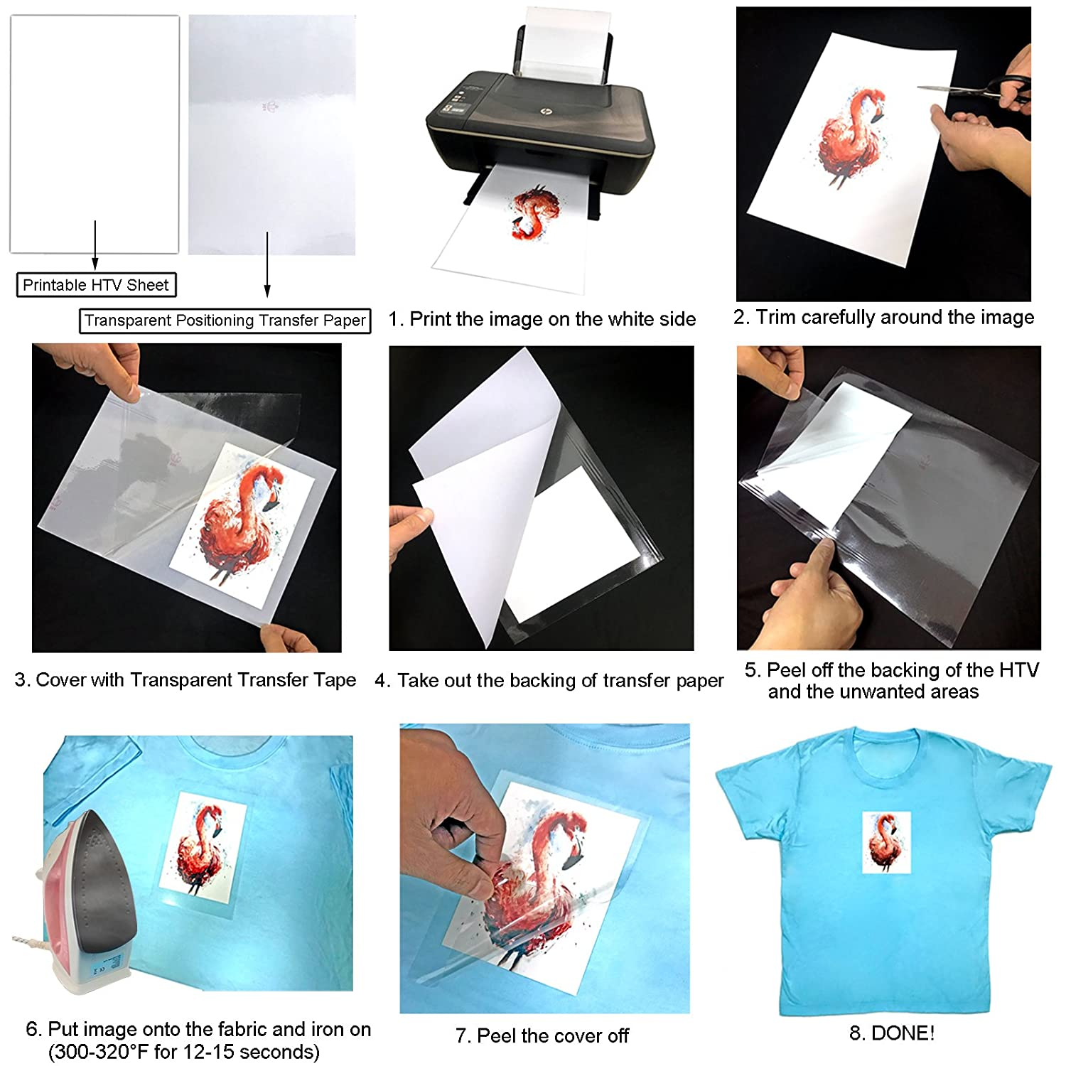image regarding How to Use Printable Htv identified as Printable Warm Go Vinyl for T-shirts, Hats, Baggage, A4 Measurement Iron upon HTV Inkjet Printer Appropriate with Oil-Based mostly Eco-Solvent Ink 6 Sheets