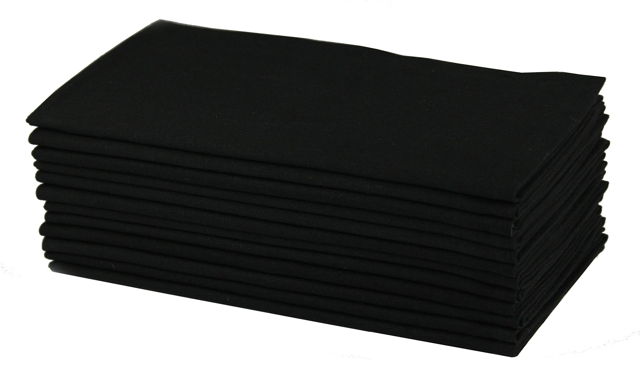 Cotton Craft Napkins, 12 Pack Oversized Dinner Napkins 20x20 Black, 100% Cotton, Tailored with Mitered corners and a generous hem, Napkins are 38% larger than standard size napkins