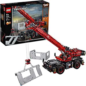 LEGO 42082 Technic Rough Terrain Crane 2 in 1 Mobile Pile Driver Heavy Duty Truck with Power Functions Motor, Advanced Building Set, Construction Vehicles Collection
