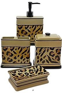 Superbe Set 4 Piece Leopard Animal Print Ceramic Bathroom Accessories With Cotton  Jar