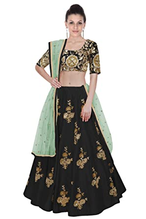 04ccaf807c Rozy Fashion black embroidered semi stitched lehenga choli material with  sea green net dupatta: Amazon.in: Clothing & Accessories