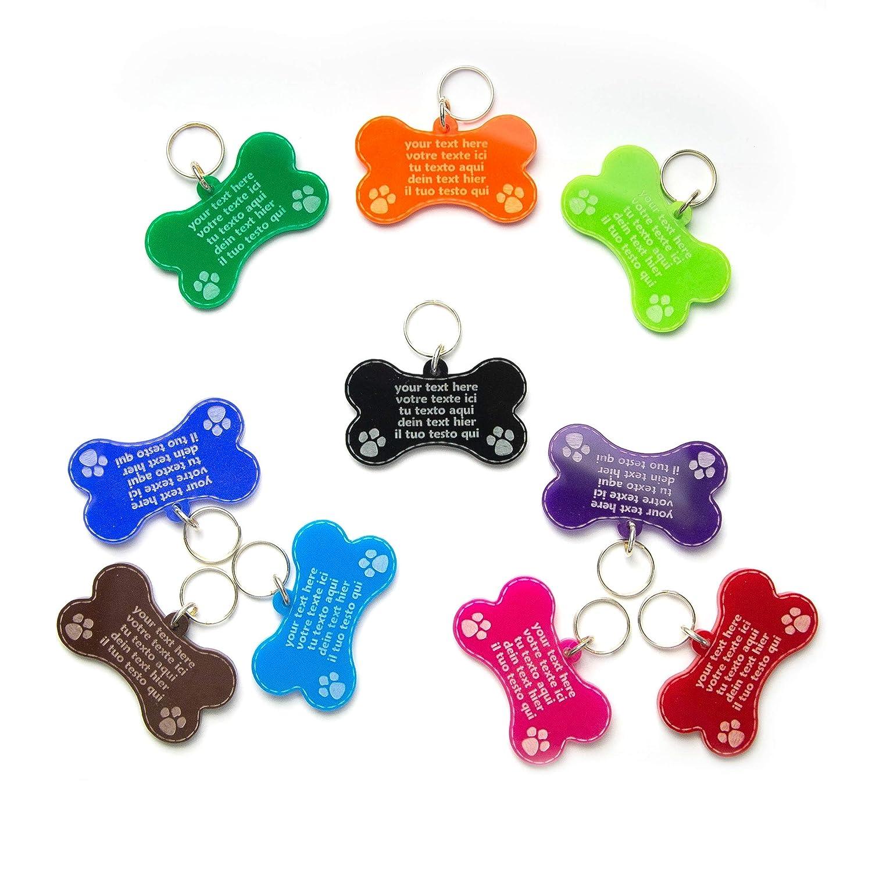 Chapa Placa En Forma de Hueso Identificativa para Perros, Gatos, Mascotas, Grabado del Nombre y Teléfono | Acrílico