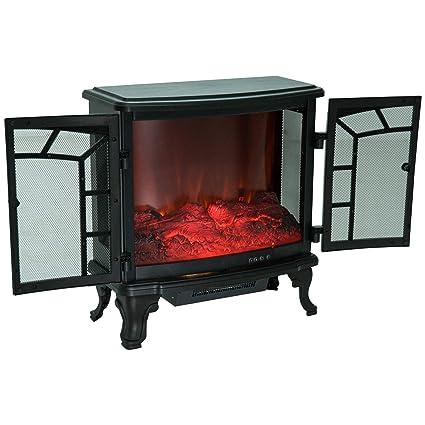 Homcom Chimenea Eléctrica Móvil Estufa de Pie Calefactor Efecto de Leña Ardiendo con Mando a Distancia 1000W/2000W
