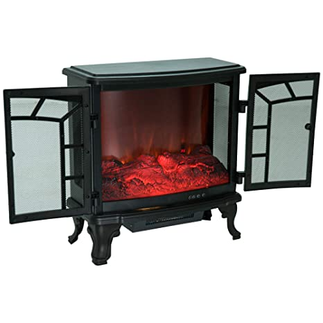 HOMCOM Chimenea Eléctrica Móvil Estufa de Pie Calefactor Efecto de Leña Ardiendo con Mando a Distancia